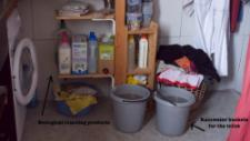 Steven uses only gray water for his toilet, e.g. rainwater or used bathwater. He has a rainwater barrel outside his home
