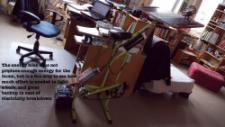 Energy bike creates only about 100 watts, made by a friend to show how much work is needed to light a bulb.