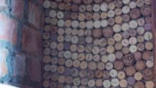 The corks are pasted together using clay