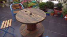 Both the chairs and electric reel / garden table were found on the street and repaired or upcycled