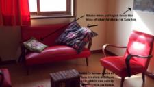 Much of the furniture comes from Vera's grandparents, like this beautiful sofa